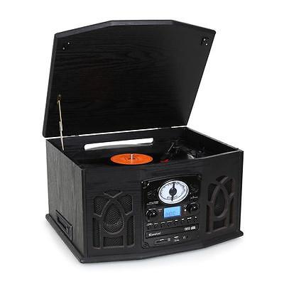 Auna Nr-620 Retro Vinyl Record Player Fm Radio Cd Mp3 Cassette Usb Sd Recorder