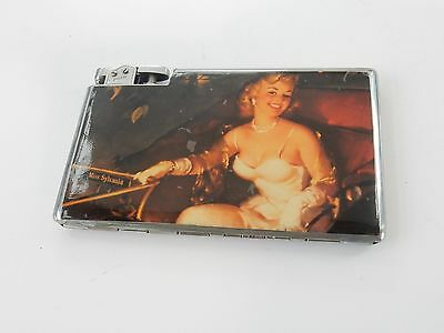 """Vintage English Made """"Polo"""" Pictorial Enamel Pin Up Lady Cigarette Case Lighter"""