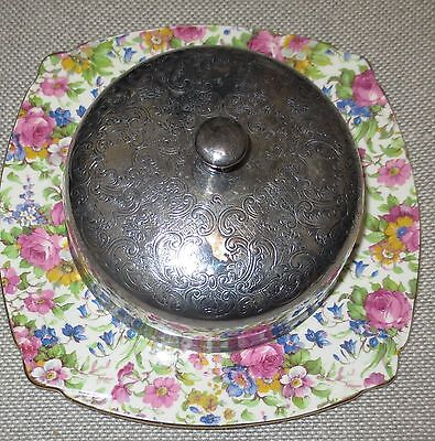 Royal Winton Summertime Butter or Cheese Dish with Silver lid