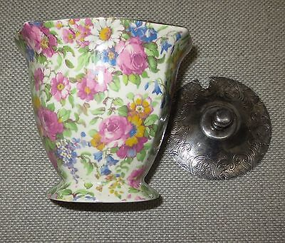 Royal Winton Summertime Jam Pot with Silver lid