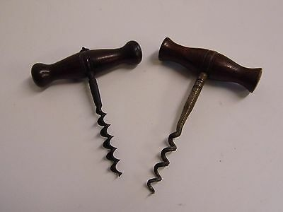 Pair of Vintage / Antique Wooden Handled Corkscrews [Possibly French in Origin]