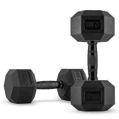 Capital Sports Hexbell Dumbell Pair Barbell Weight Lifting Body 2 X 12.5Kg Black