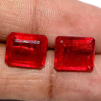 """Ruby Color """"Doublet"""" 12x10 MM Octagon Cut Pair 10.81cts Blood Red Shade Gemstone"""