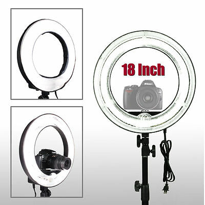 """18"""" Fluorescent 5500K Dimmable Ring Light w/ Bag Camera Photo Video Studio NEW @"""