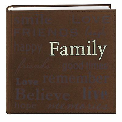 """Pioneer """"Family"""" Text Design Sewn Faux Suede Cover Photo Album, Brown"""