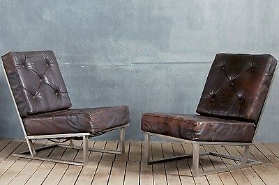 Vintage Retro Mid-Century Polished Steel Cocktail Easy Lounge Chairs Leather