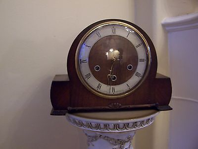 Smiths walnut cased Westminster chiming mantel clock