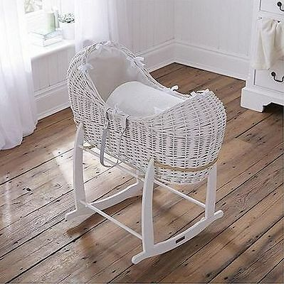 Claire De Lune White Waffle White Wicker Noah Pod/ Moses Basket With White Stand