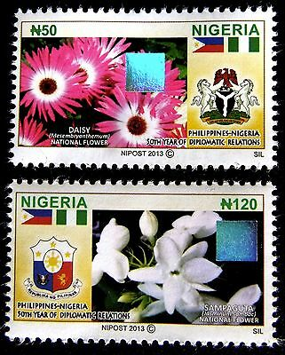 Nigeria 2013 - 'Diplomatic Relations with Philippines' 2-hologram stamp set MNH