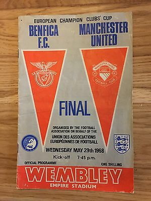 Original Benfica v Man United 1968 European Cup Final programme