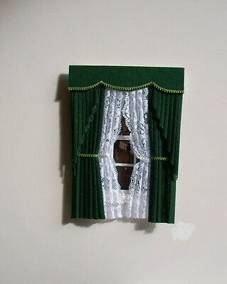 Dollshouse Curtains Green  Swag With Tied Nets