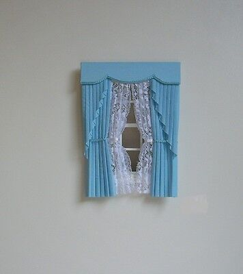 Dollshouse Curtains Blue  Swag With Tied Nets