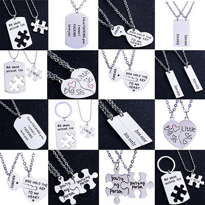 Stainless Steel Unique Love Heart Couple Pendant Necklace Set Friend Romantic