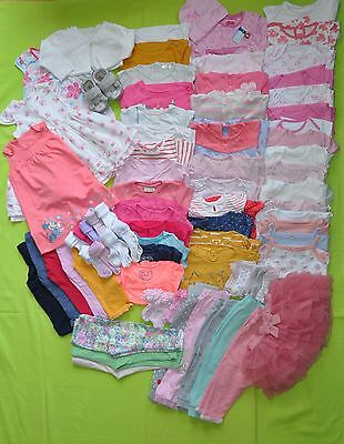 ** BABY GIRLS 79 pcs BUNDLE  12 - 18 MONTHS SHOES BODYSUITS TROUSERS SLEEPSUITS