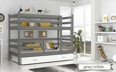 BUNK BED JACK CHILDRENS BUNK BED WITH 2 MATTRESSES AND STORAGE DRAWER gray/white
