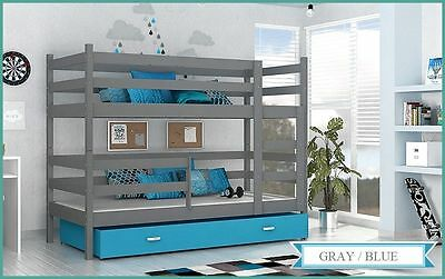BUNK BED JACK CHILDRENS BUNK BED WITH 2 MATTRESSES AND STORAGE DRAWER gray/blue