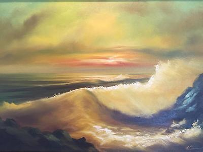 Large Gorgeous Vintage Original Oil Painting Seascape Ocean Waves Signed