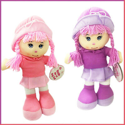 Rag Doll Rosie Girl Toys Baby Dolls Soft Toy Braided Hair Pink Hat Birthday Gift