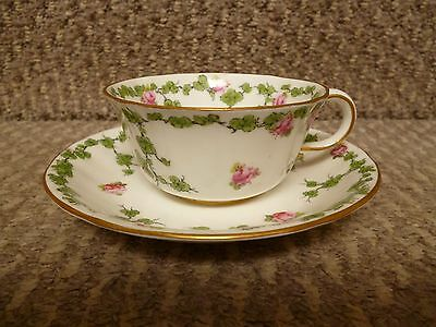 Antique (1904 ) Royal Crown Derby 6979 Floral Rose Pattern Cup And Saucer