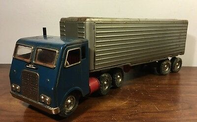 Vintage Tin Friction Semi Truck White Freighliner Cab & Trailer Japan