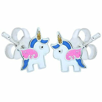 10 x Pairs Blue Pink Pony Earrings Sterling Silver Wholesale Kids Party Favours