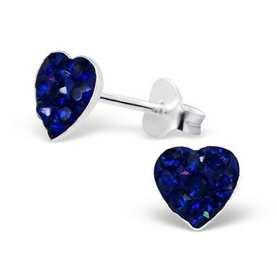 10 x Pairs Blue Heart Earrings Sterling Silver Wholesale Lot Kids Party Favours