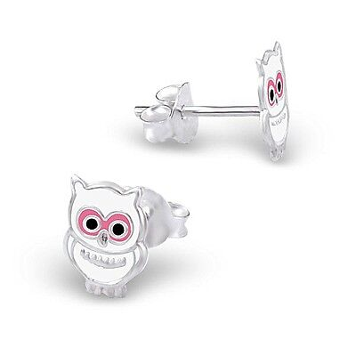 5 x Pairs White Owl Earrings Sterling Silver Wholesale Lot Kids Party Favours
