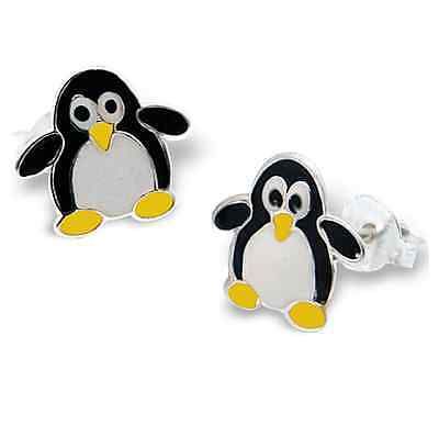 10 x Pairs Penguin Earrings Sterling Silver Wholesale Job Lot Kids Party Favours