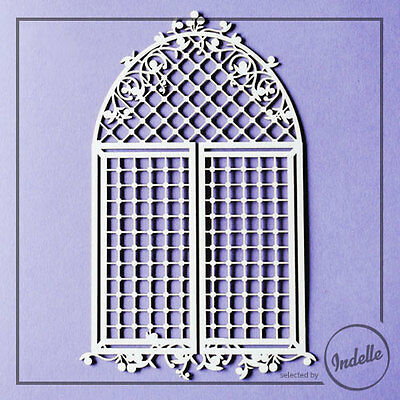 Large Arch Window with Lattice Cardmaking Papercraft Scrapbooking Ornament