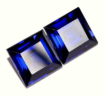 Blue Sapphire Color Square Cut 9 mm Pair 10.43 CTS Blue Loose Gemstones