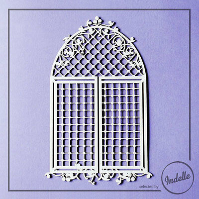 Arch Window with Lattice Chipboard Shape Card Making Papercraft Scrapbooking