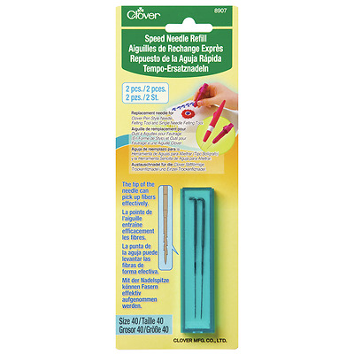 Clover Speed Refill Needles 2 x Size 40 for Pen-Style Needle Felting Tool