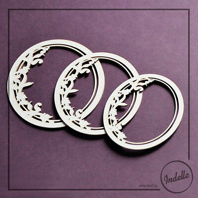 Round Charming Chipboard Frames Cardmaking Scrapbooking Ornaments 3 pack