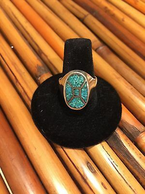 Vintage Turquoise Sterling Silver Ring Sz 8
