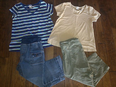 GUC! Womens Lot of 4 Duo Maternity Tops Shirts Capris Pants Size Small S