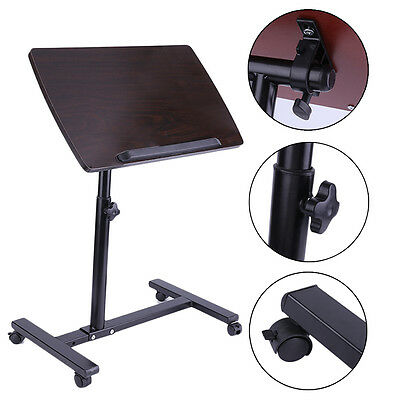 Overbed Rolling Table Over Bed Laptop Food Tray Hospital Desk W/ Tilting Top MG