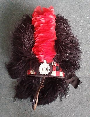 Vintage Scots Feather Bonnet with Red Hackle and Original Hat Box