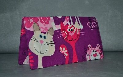 Checkbook Cover w-Carbon Copy Panel or Coupon Holder~Handmade~Colorful Kitties