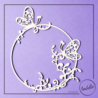 Round Chipboard Frame with Butterflies Cardmaking Papercraft Scrapbooking Shape