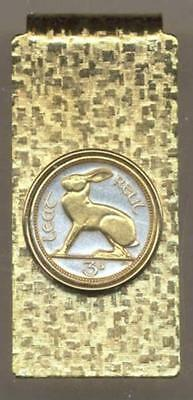 Gold on Silver Ireland 3-Pence Rabbit Hinged Money Clip/Made in USA