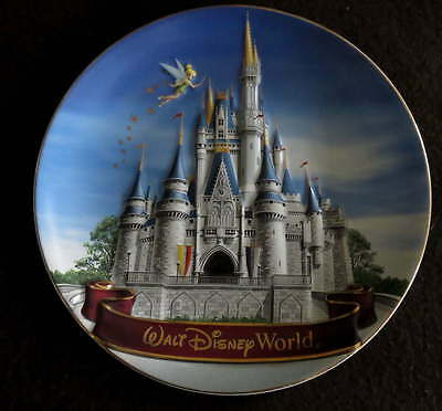 "WALT DISNEY WORLD Decorative 8"" PLATE Castle Tinkerbell Tink Daytime Raised"