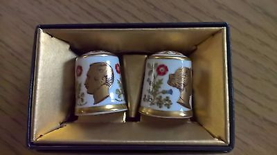 Royal Crown Derby Prince Albert Queen Victoria Limited Edition Thimbles