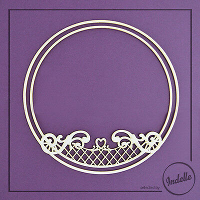 Heart and Sirls Round Chipboard Frame Cardmaking Papercraft Scrapbooking Shape