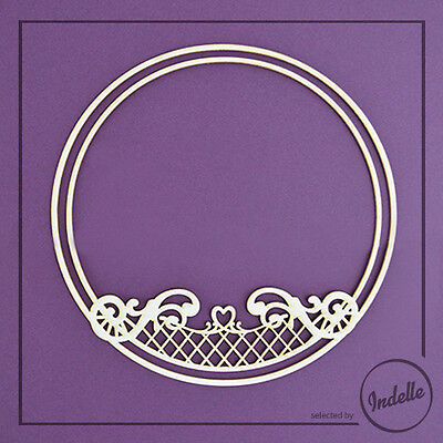 Round Chipboard Frame with Heart and Swirls Cardmaking Papercraft Shape