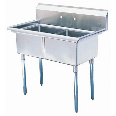 """NEW TURBO AIR Green World 42"""" Stainless Steel 2 Compartment Sink, Model TSA-2-N"""