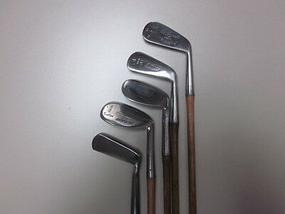 hickory golf clubs set of 4 irons /putter fully restored