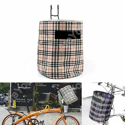 Bike Bicycle Front Folded Handlebar Canvas Storage Basket Carrier Tote Bag Beige