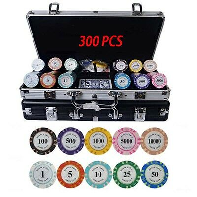 NEW 300pcs Texas 14g Poker Chips Set with Suitcase&Poker Table cloth for game