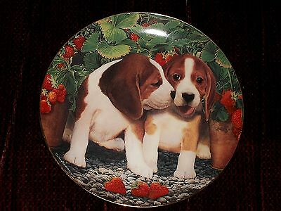 The Danbury Mint Berry Sweet Nancy Aument Beagles & Strawberries Collector Plate