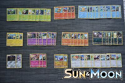 Pokémon Sun & Moon Complete Set of all 69 Common and Uncommon cards +9 Energy